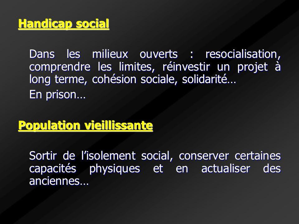 Handicap social Dans les milieux ouverts : resocialisation, comprendre les limites, réinvestir un projet à long terme, cohésion sociale, solidarité… E