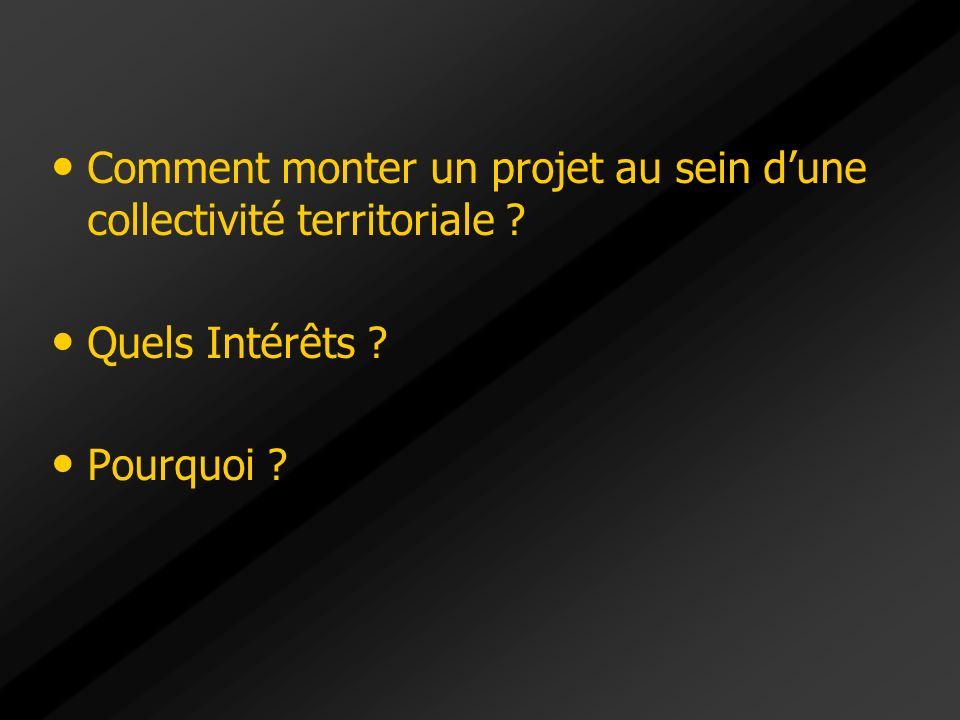 Comment monter un projet au sein dune collectivité territoriale ? Quels Intérêts ? Pourquoi ?