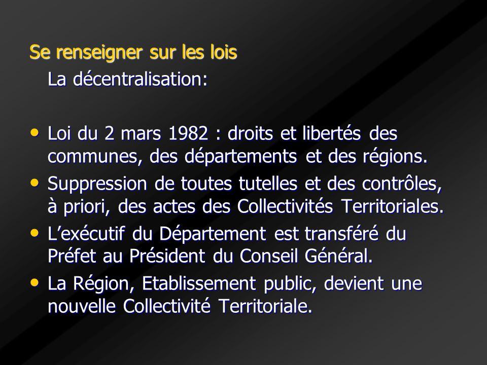 Se renseigner sur les lois La décentralisation: Loi du 2 mars 1982 : droits et libertés des communes, des départements et des régions. Loi du 2 mars 1