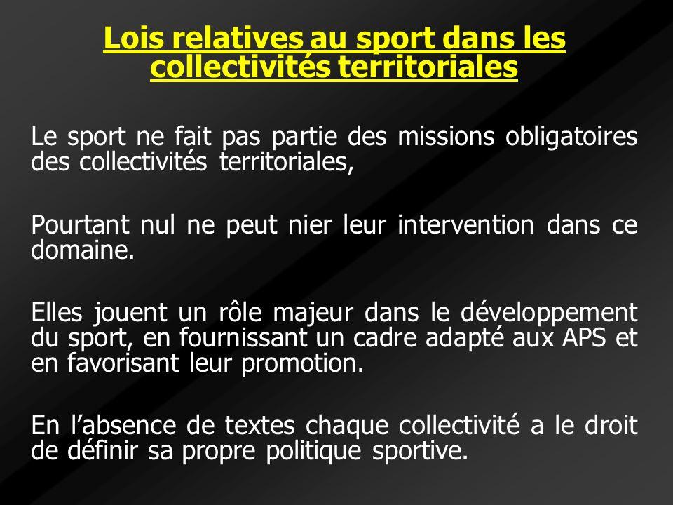 Lois relatives au sport dans les collectivités territoriales Le sport ne fait pas partie des missions obligatoires des collectivités territoriales, Po