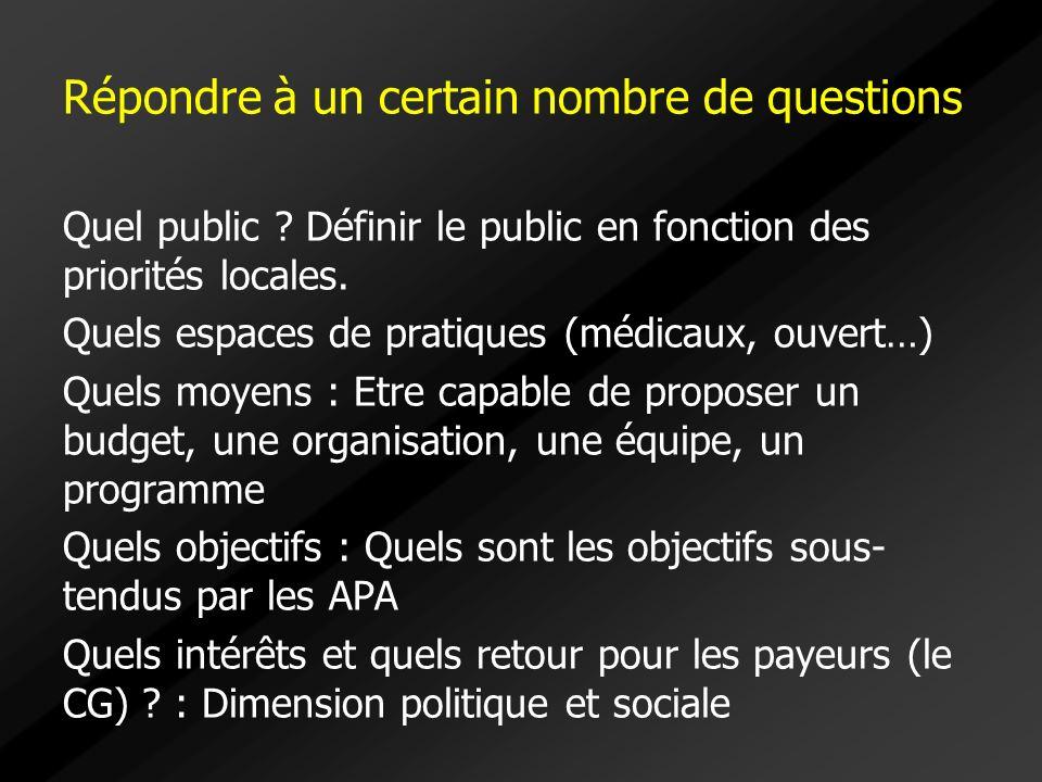 Répondre à un certain nombre de questions Quel public ? Définir le public en fonction des priorités locales. Quels espaces de pratiques (médicaux, ouv