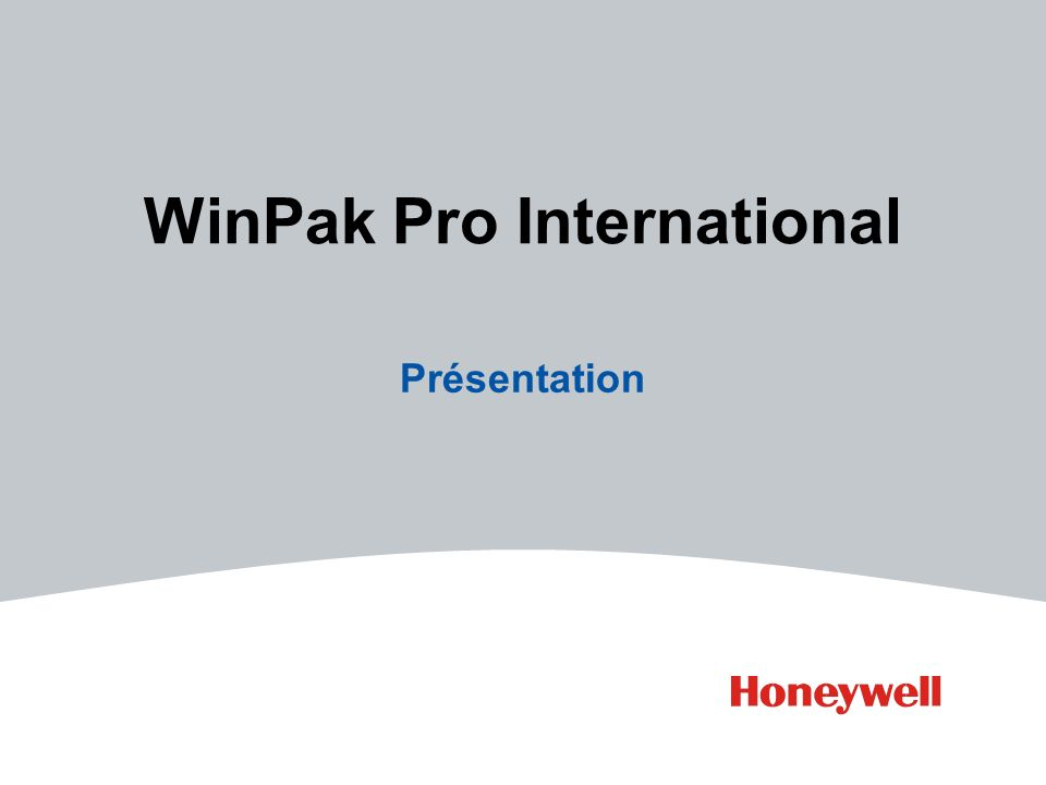 WinPak Pro International Présentation
