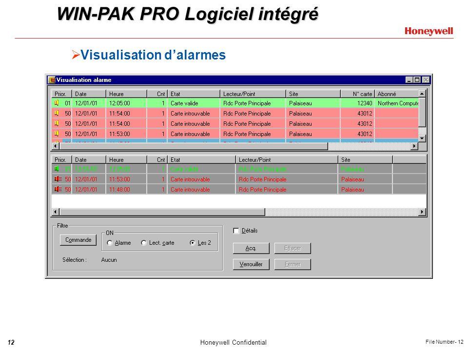 12Honeywell Confidential File Number- 12 Visualisation dalarmes WIN-PAK PRO Logiciel intégré