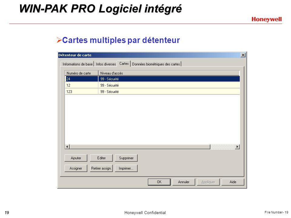 19Honeywell Confidential File Number- 19 Cartes multiples par détenteur WIN-PAK PRO Logiciel intégré