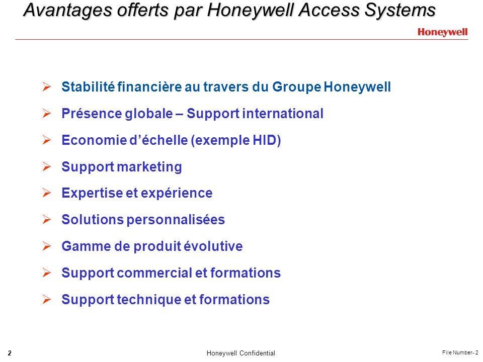 2Honeywell Confidential File Number- 2 Avantages offerts par Honeywell Access Systems Stabilité financière au travers du Groupe Honeywell Présence glo