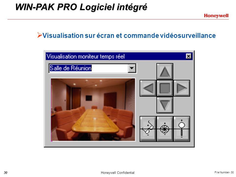 30Honeywell Confidential File Number- 30 Visualisation sur écran et commande vidéosurveillance WIN-PAK PRO Logiciel intégré