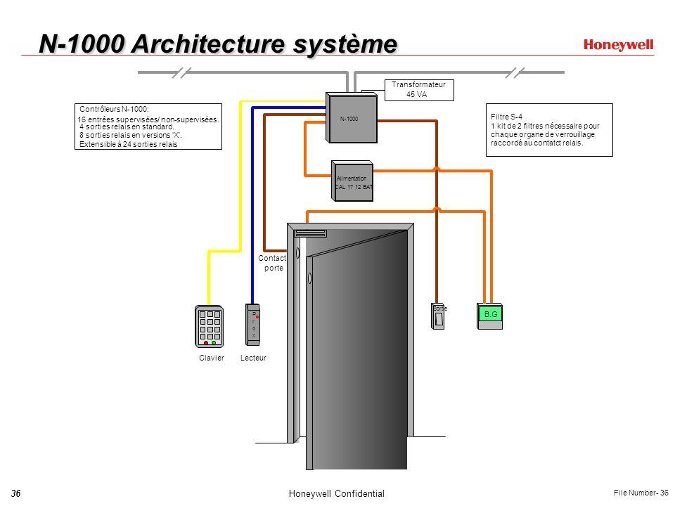 36Honeywell Confidential File Number- 36 N-1000 Architecture système porte Contact Maglock Filtre S-4 1 kit de 2 filtres nécessaire pour chaque organe