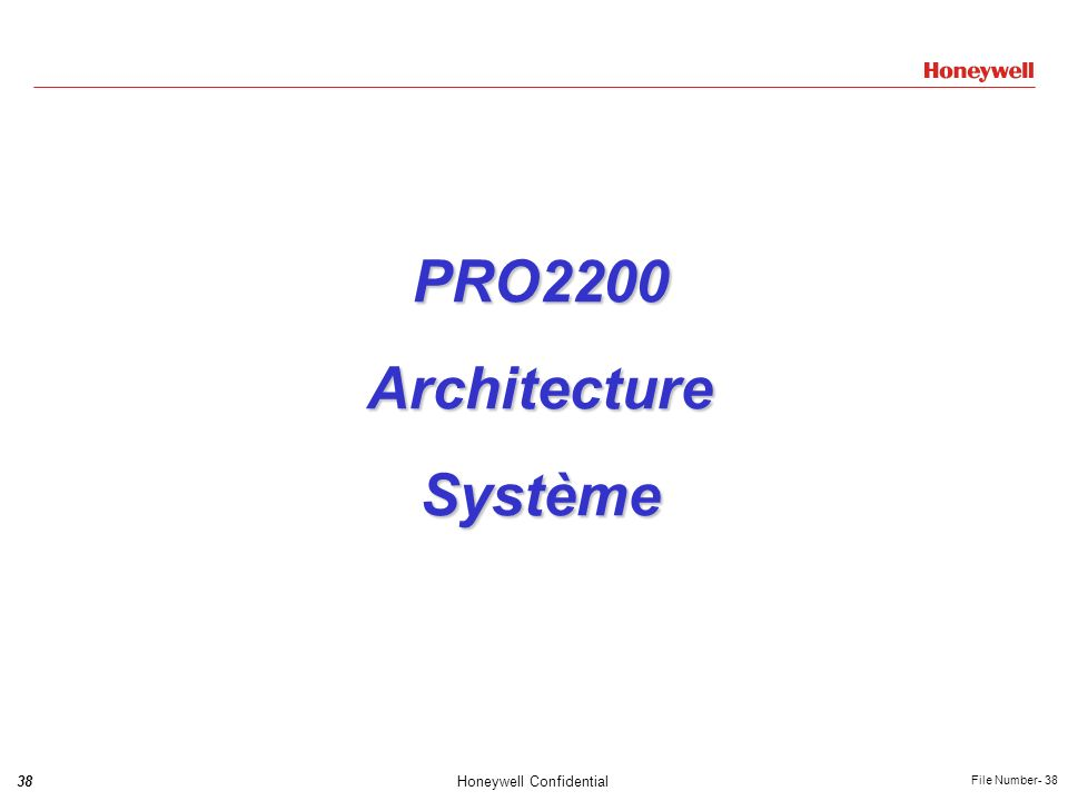 38Honeywell Confidential File Number- 38 PRO2200ArchitectureSystème