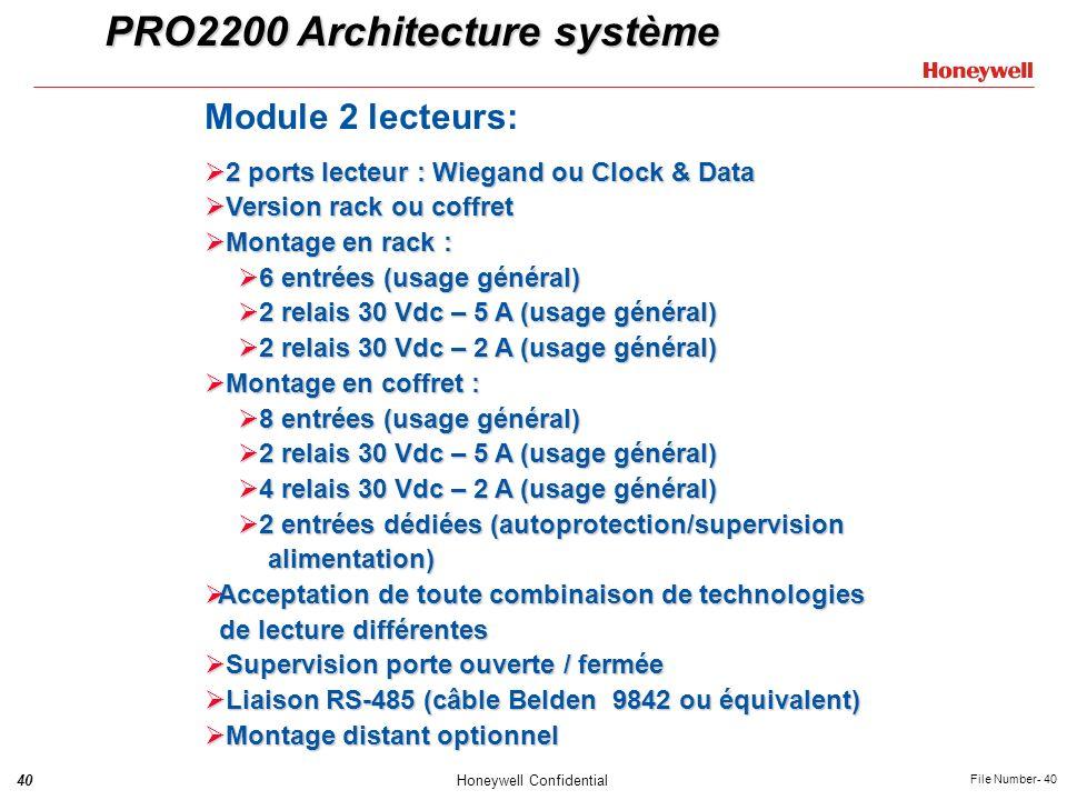 40Honeywell Confidential File Number- 40 PRO2200 Architecture système Module 2 lecteurs: 2 ports lecteur : Wiegand ou Clock & Data 2 ports lecteur : W