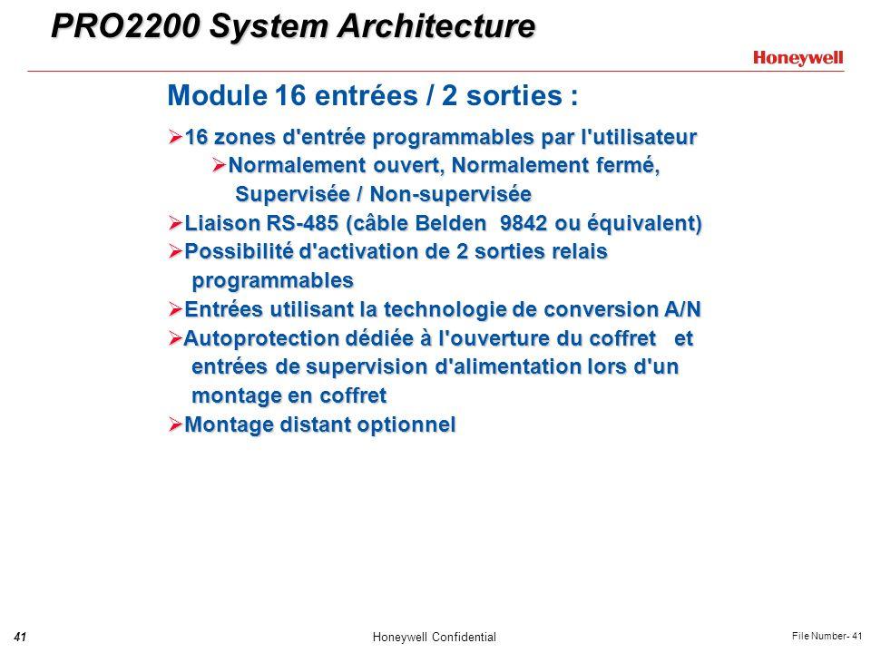 41Honeywell Confidential File Number- 41 PRO2200 System Architecture Module 16 entrées / 2 sorties : 16 zones d'entrée programmables par l'utilisateur
