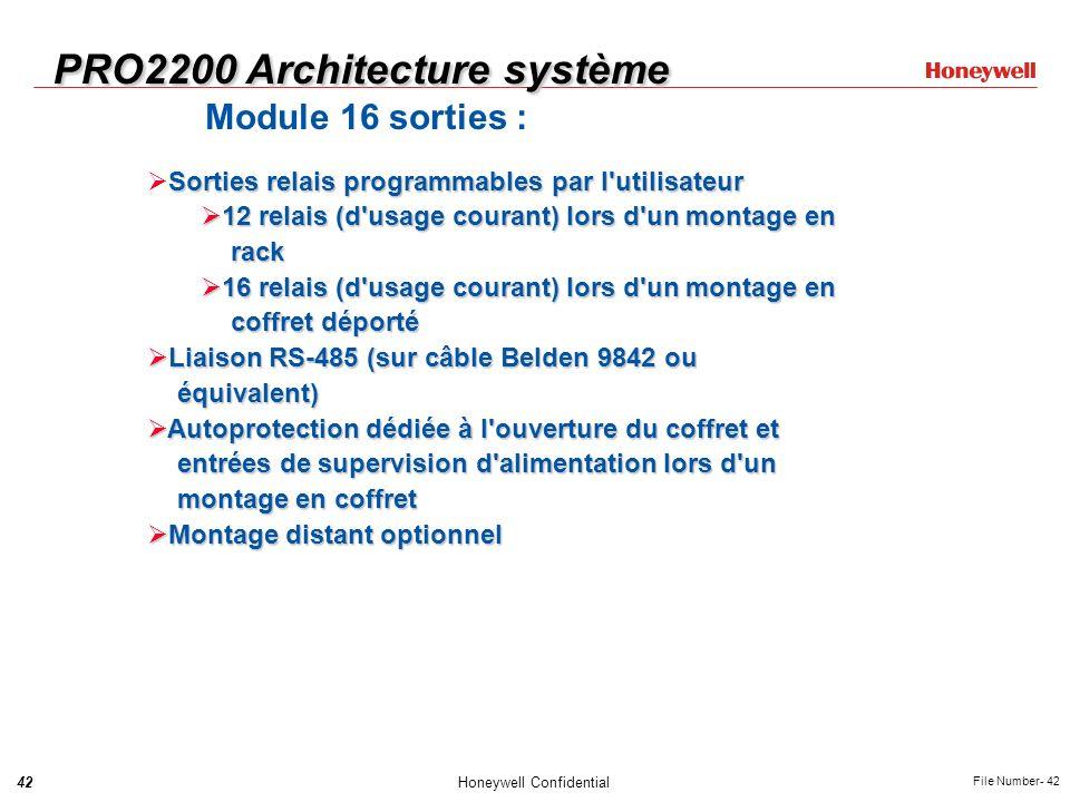 42Honeywell Confidential File Number- 42 PRO2200 Architecture système Module 16 sorties : Sorties relais programmables par l'utilisateur 12 relais (d'