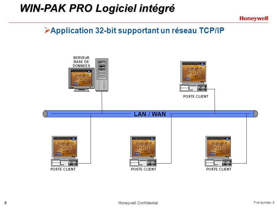 8Honeywell Confidential File Number- 8 Application 32-bit supportant un réseau TCP/IP LAN / WAN WIN-PAK PRO Logiciel intégré POSTE CLIENT SERVEuR BASE