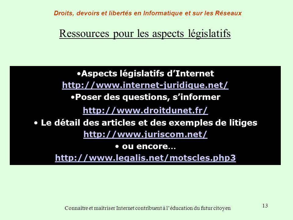 13 Droits, devoirs et libertés en Informatique et sur les Réseaux Connaître et maîtriser Internet contribuent à léducation du futur citoyen Aspects lé