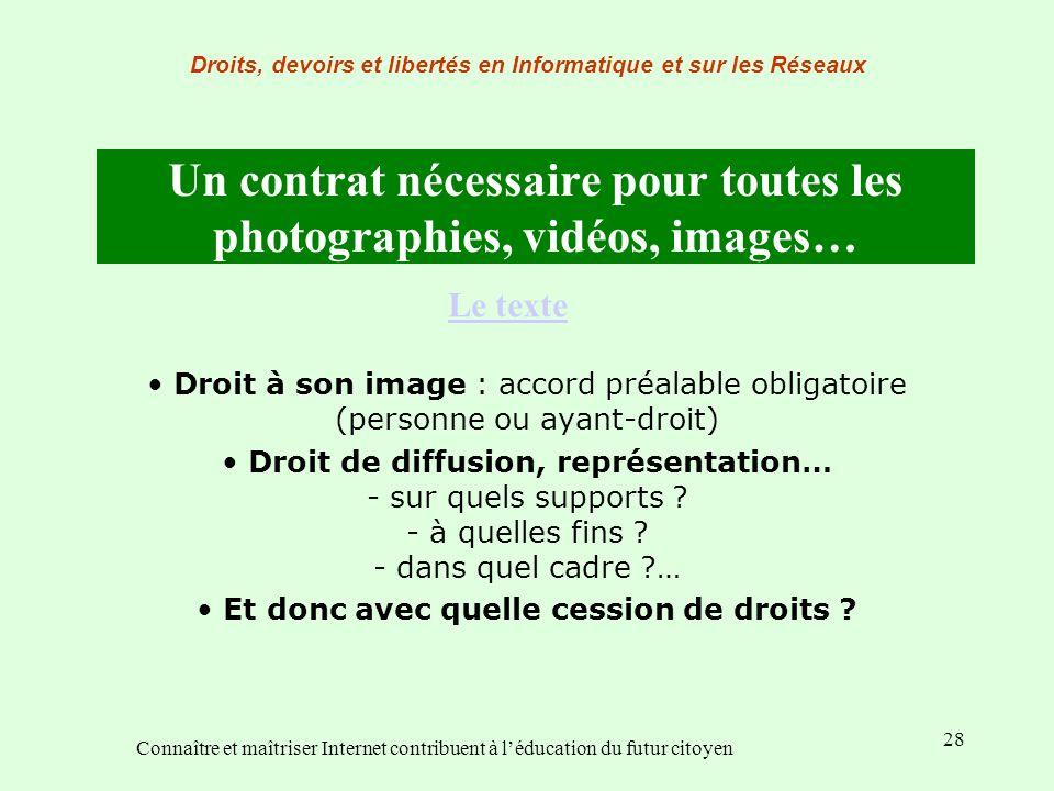 28 Un contrat nécessaire pour toutes les photographies, vidéos, images… Droit à son image : accord préalable obligatoire (personne ou ayant-droit) Dro