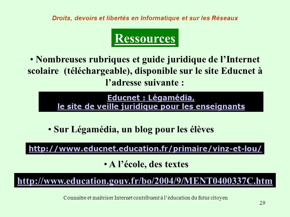 29 Connaître et maîtriser Internet contribuent à léducation du futur citoyen Droits, devoirs et libertés en Informatique et sur les Réseaux Ressources