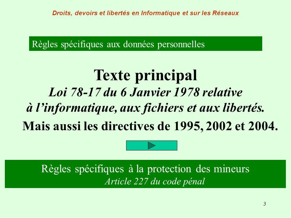 3 Règles spécifiques aux données personnelles Texte principal Loi 78-17 du 6 Janvier 1978 relative à linformatique, aux fichiers et aux libertés. Mais