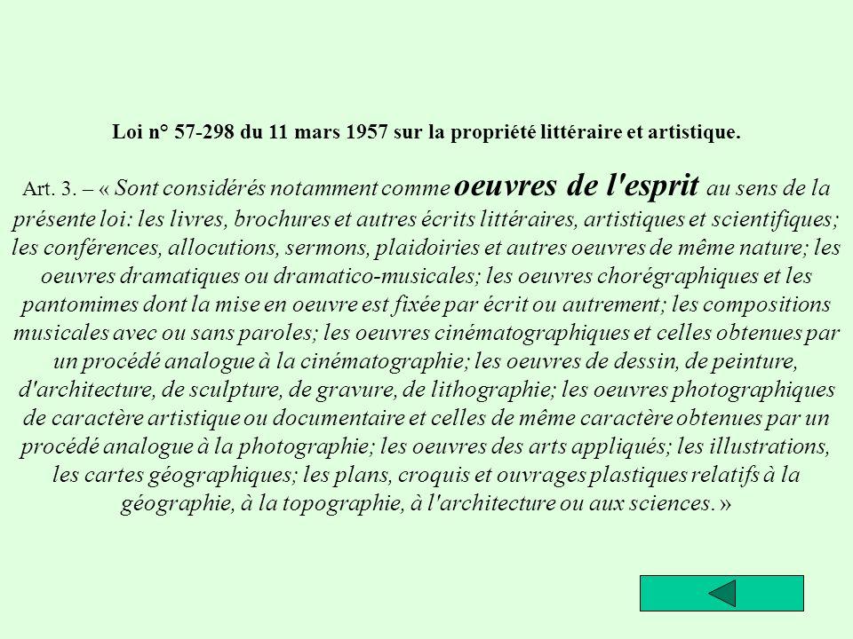 33 Loi n° 57-298 du 11 mars 1957 sur la propriété littéraire et artistique. Art. 3. – « Sont considérés notamment comme oeuvres de l'esprit au sens de
