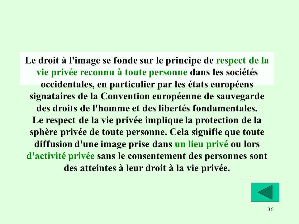 36 Le droit à l'image se fonde sur le principe de respect de la vie privée reconnu à toute personne dans les sociétés occidentales, en particulier par