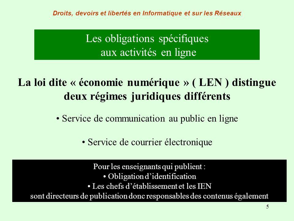 5 Droits, devoirs et libertés en Informatique et sur les Réseaux Les obligations spécifiques aux activités en ligne La loi dite « économie numérique »
