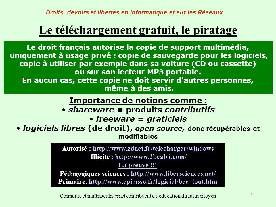 7 Droits, devoirs et libertés en Informatique et sur les Réseaux Connaître et maîtriser Internet contribuent à léducation du futur citoyen Le téléchar