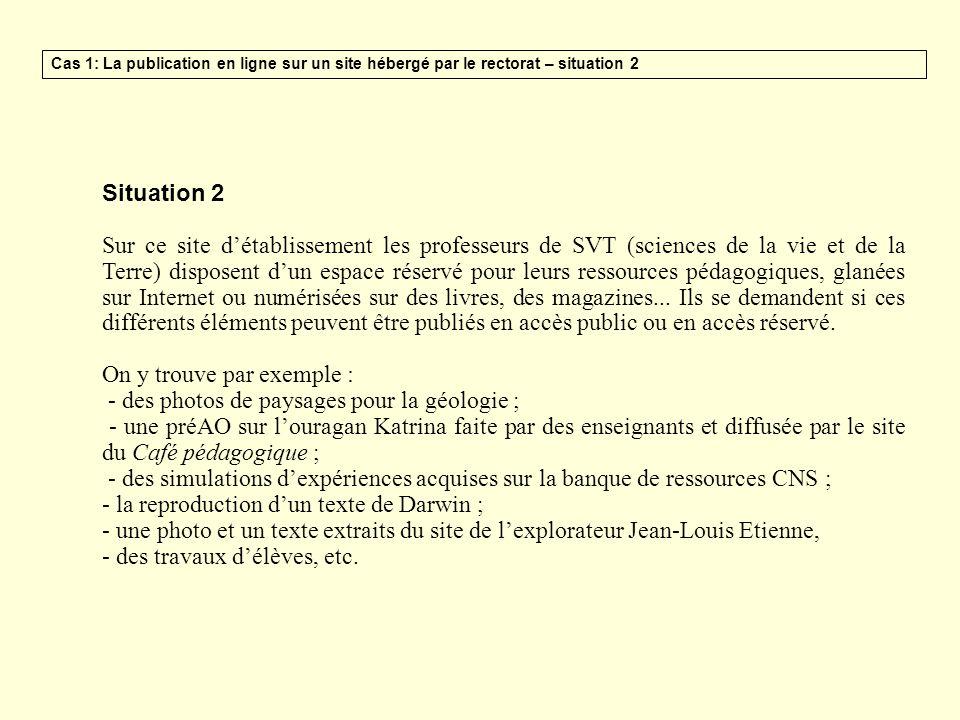 Situation 2 Sur ce site détablissement les professeurs de SVT (sciences de la vie et de la Terre) disposent dun espace réservé pour leurs ressources p