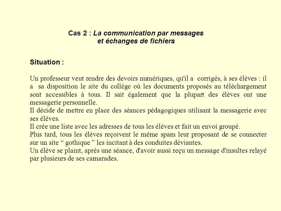Cas 2 : La communication par messages et échanges de fichiers Situation : Un professeur veut rendre des devoirs numériques, qu'il a corrigés, à ses él