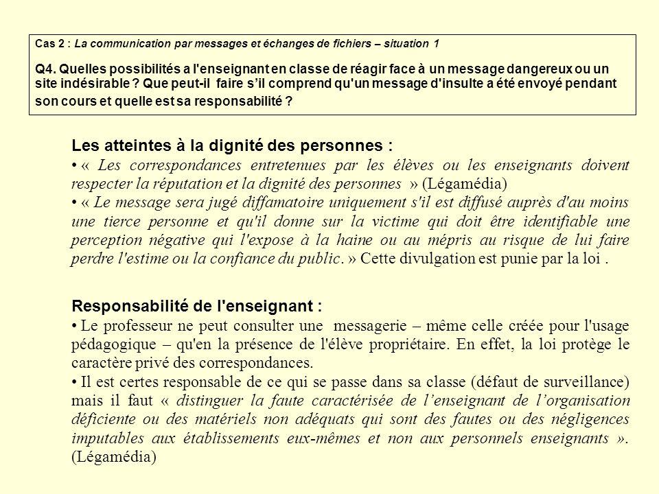 Les atteintes à la dignité des personnes : « Les correspondances entretenues par les élèves ou les enseignants doivent respecter la réputation et la d
