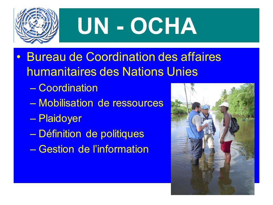 UN - OCHA Bureau de Coordination des affaires humanitaires des Nations Unies –Coordination –Mobilisation de ressources –Plaidoyer –Définition de politiques –Gestion de linformation