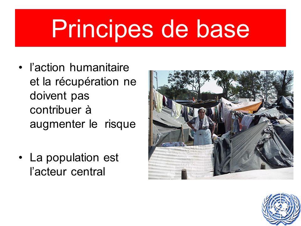 laction humanitaire et la récupération ne doivent pas contribuer à augmenter le risque La population est lacteur central Principes de base