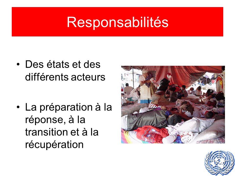 Responsabilités Des états et des différents acteurs La préparation à la réponse, à la transition et à la récupération