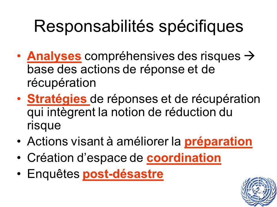 Responsabilités spécifiques Analyses compréhensives des risques base des actions de réponse et de récupération Stratégies de réponses et de récupération qui intègrent la notion de réduction du risque Actions visant à améliorer la préparation Création despace de coordination Enquêtes post-désastre