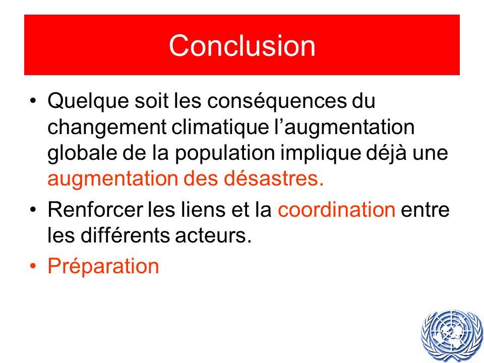Conclusion Quelque soit les conséquences du changement climatique laugmentation globale de la population implique déjà une augmentation des désastres.