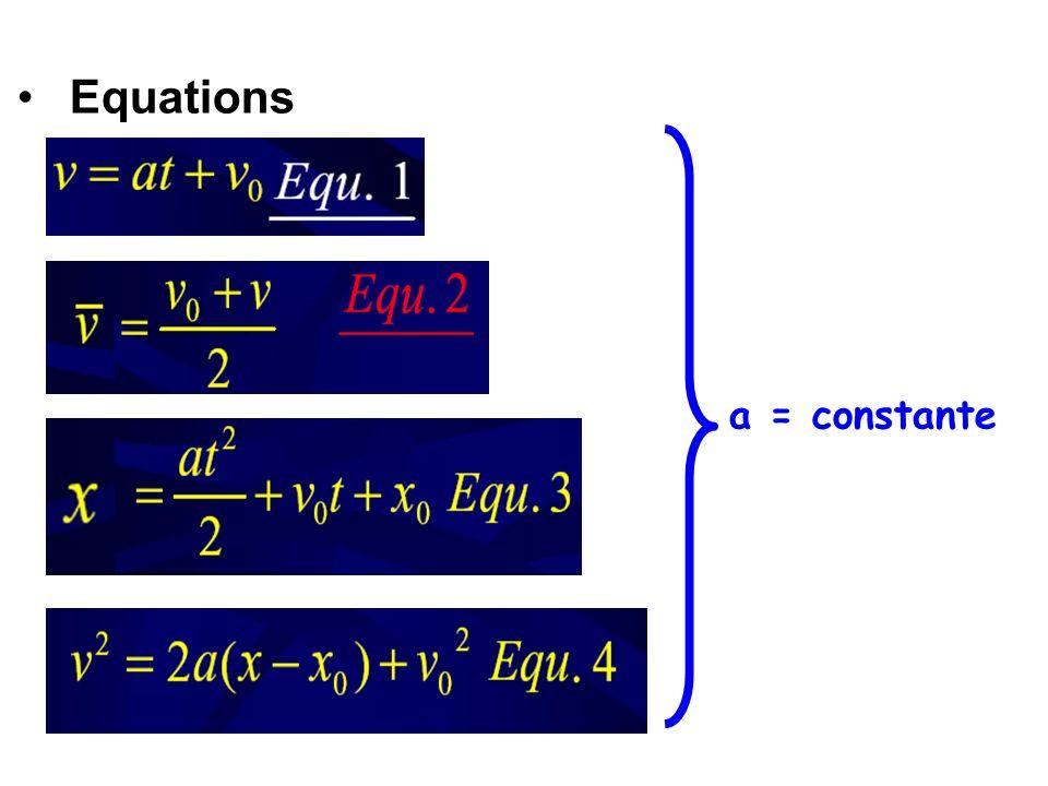 Equations a = constante