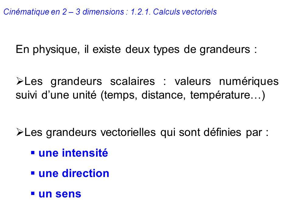 Cinématique en 2 – 3 dimensions : 1.2.1. Calculs vectoriels En physique, il existe deux types de grandeurs : Les grandeurs scalaires : valeurs numériq