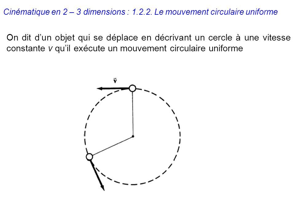 Cinématique en 2 – 3 dimensions : 1.2.2. Le mouvement circulaire uniforme On dit dun objet qui se déplace en décrivant un cercle à une vitesse constan