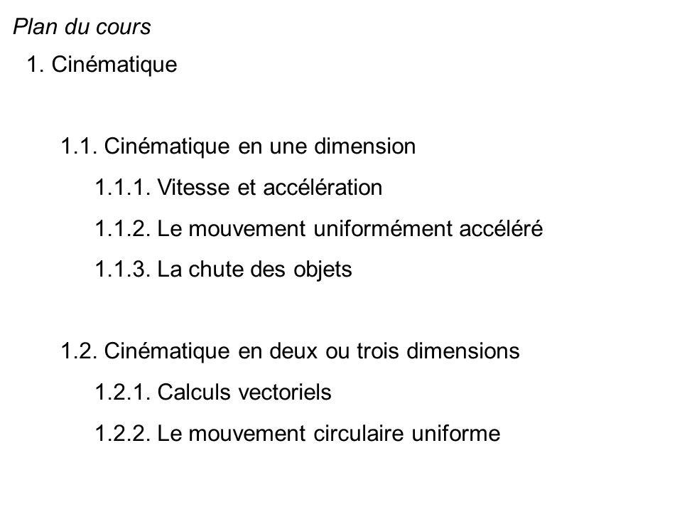 Plan du cours 1.Cinématique 1.1. Cinématique en une dimension 1.1.1. Vitesse et accélération 1.1.2. Le mouvement uniformément accéléré 1.1.3. La chute