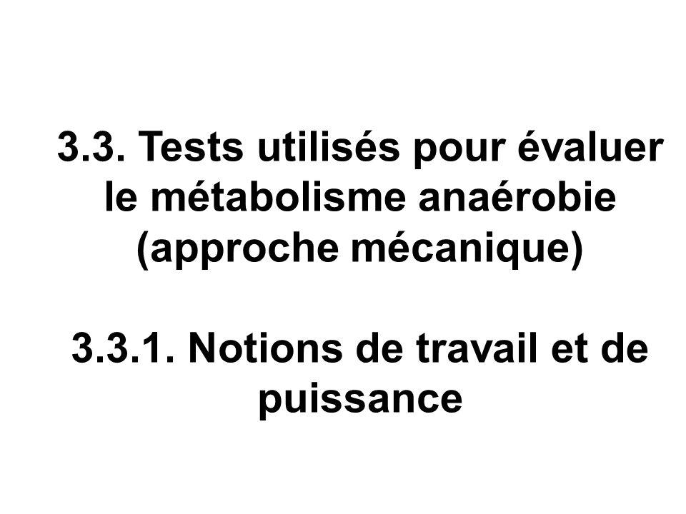 3.3. Tests utilisés pour évaluer le métabolisme anaérobie (approche mécanique) 3.3.1. Notions de travail et de puissance