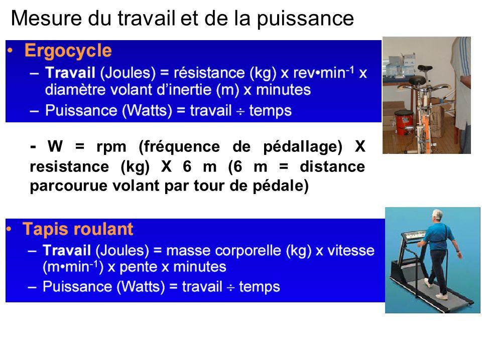 Mesure du travail et de la puissance - W = rpm (fréquence de pédallage) X resistance (kg) X 6 m (6 m = distance parcourue volant par tour de pédale)