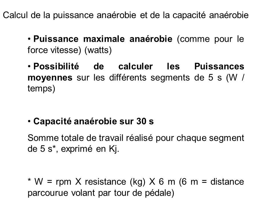 Calcul de la puissance anaérobie et de la capacité anaérobie Puissance maximale anaérobie (comme pour le force vitesse) (watts) Possibilité de calcule