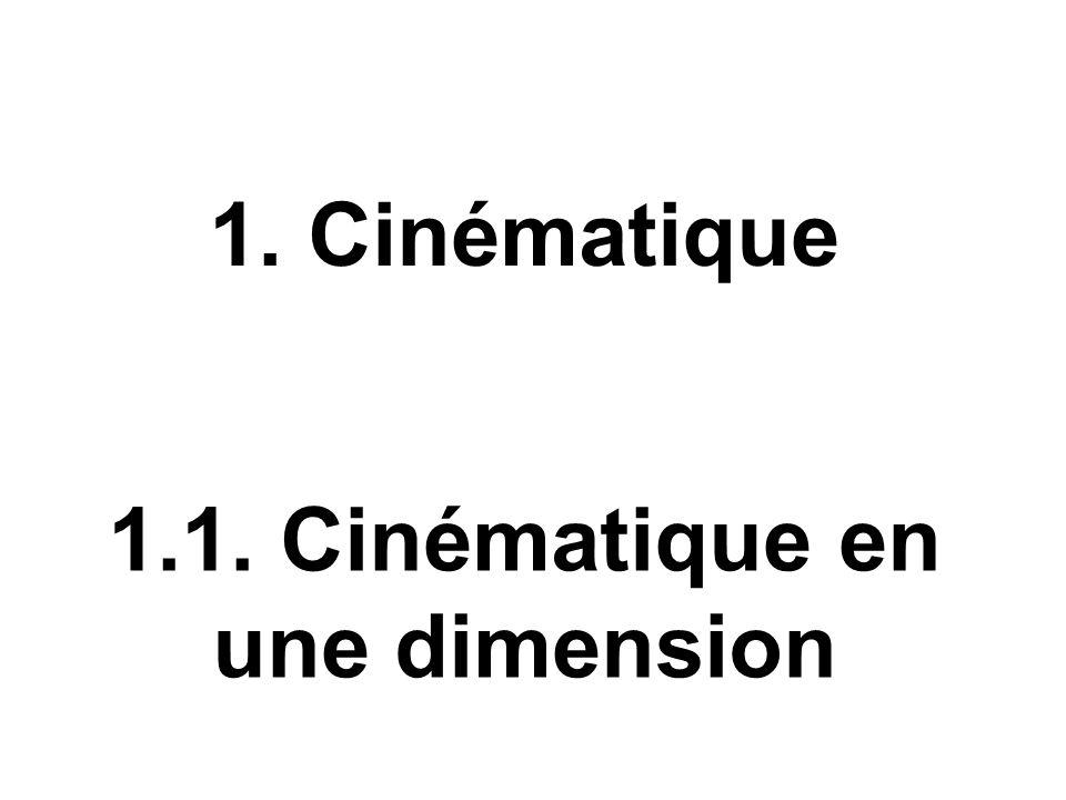 1.1. Cinématique en une dimension 1. Cinématique