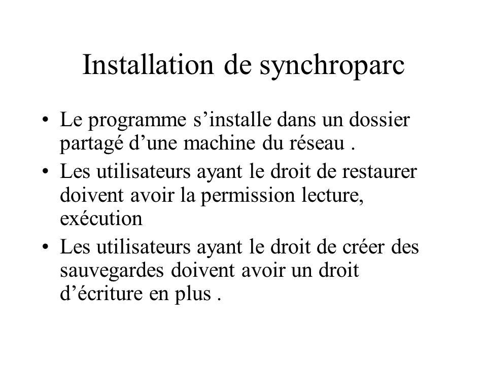 Installation de synchroparc Le programme sinstalle dans un dossier partagé dune machine du réseau. Les utilisateurs ayant le droit de restaurer doiven