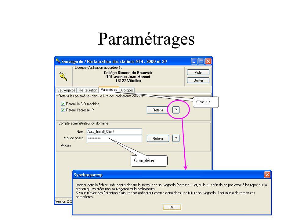Paramétrages Choisir Compléter