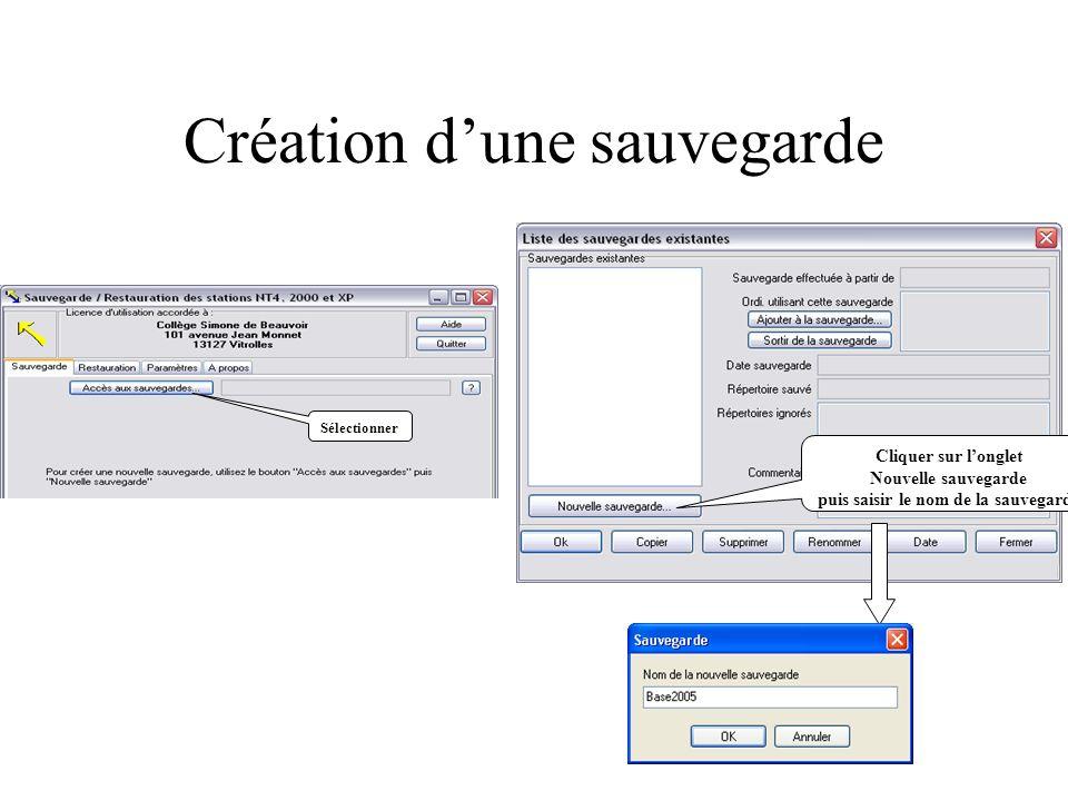 Création dune sauvegarde Sélectionner Cliquer sur longlet Nouvelle sauvegarde puis saisir le nom de la sauvegarde