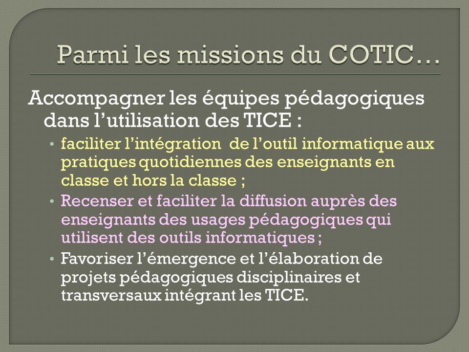 Accompagner les équipes pédagogiques dans lutilisation des TICE : faciliter lintégration de loutil informatique aux pratiques quotidiennes des enseign