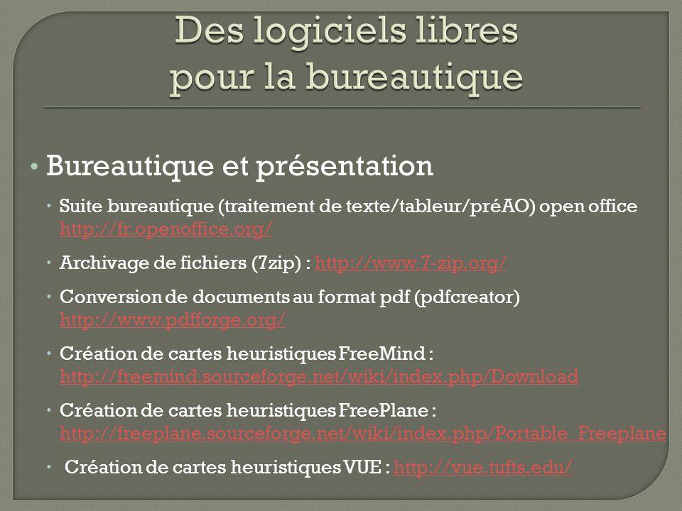 Bureautique et présentation Suite bureautique (traitement de texte/tableur/préAO) open office http://fr.openoffice.org/ http://fr.openoffice.org/ Arch