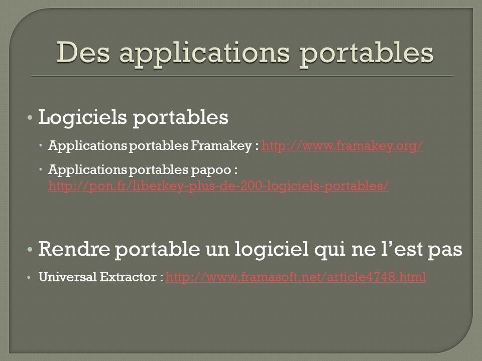 Logiciels portables Applications portables Framakey : http://www.framakey.org/http://www.framakey.org/ Applications portables papoo : http://pon.fr/li