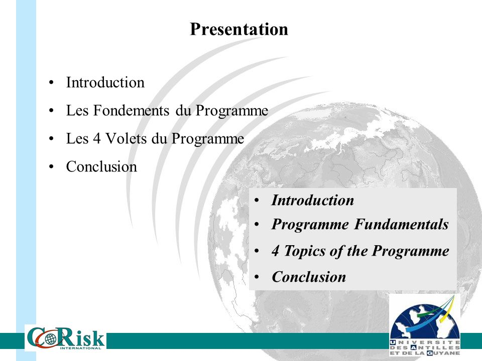 Introduction Les Fondements du Programme Les 4 Volets du Programme Conclusion Introduction Programme Fundamentals 4 Topics of the Programme Conclusion Presentation