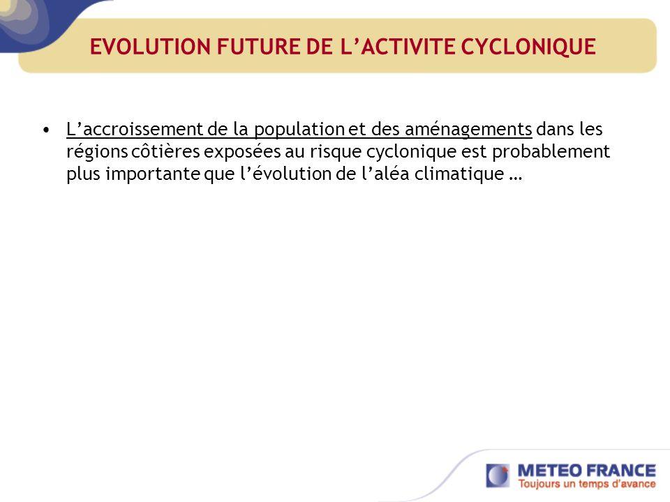 EVOLUTION FUTURE DE LACTIVITE CYCLONIQUE Laccroissement de la population et des aménagements dans les régions côtières exposées au risque cyclonique est probablement plus importante que lévolution de laléa climatique …
