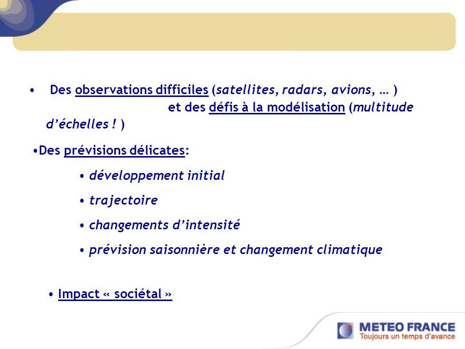 Des observations difficiles (satellites, radars, avions, … ) et des défis à la modélisation (multitude déchelles .