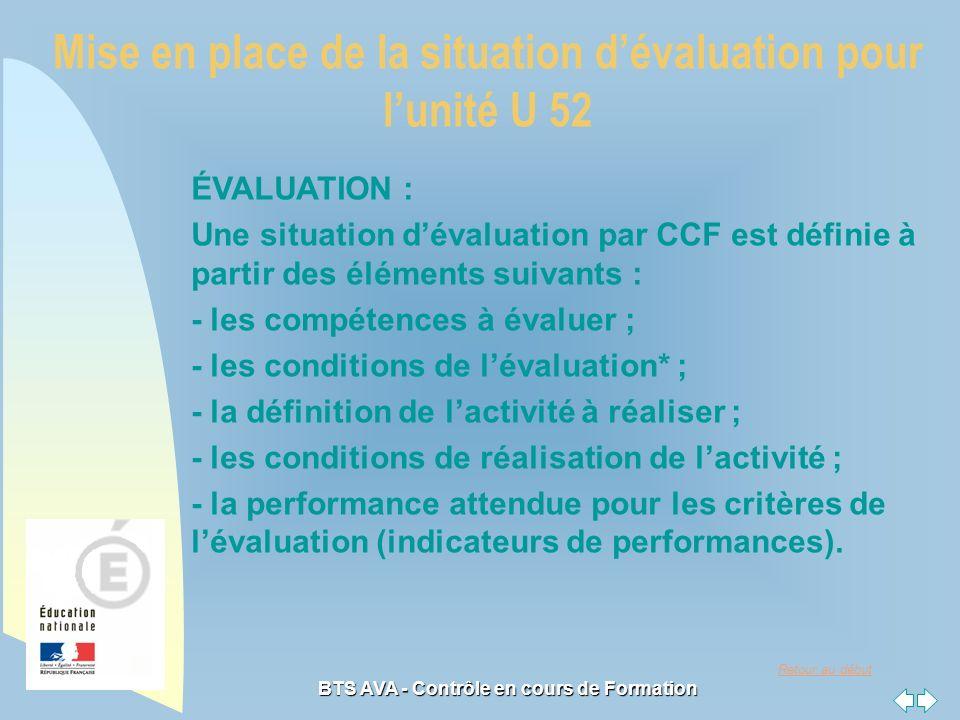 Retour au début BTS AVA - Contrôle en cours de Formation ÉVALUATION : Une situation dévaluation par CCF est définie à partir des éléments suivants : - les compétences à évaluer ; - les conditions de lévaluation* ; - la définition de lactivité à réaliser ; - les conditions de réalisation de lactivité ; - la performance attendue pour les critères de lévaluation (indicateurs de performances).